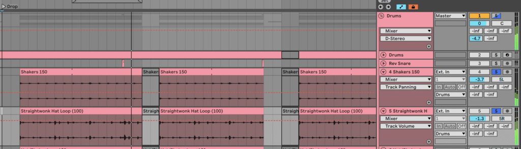 Panning Drums Channels in Ableton Live