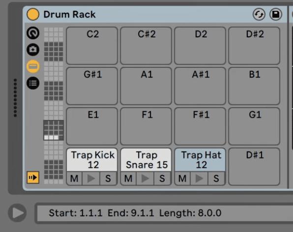 Samples in Ableton drum rack
