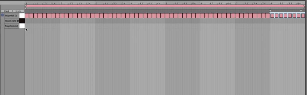 1/8 hi-hat pattern MIDI clip