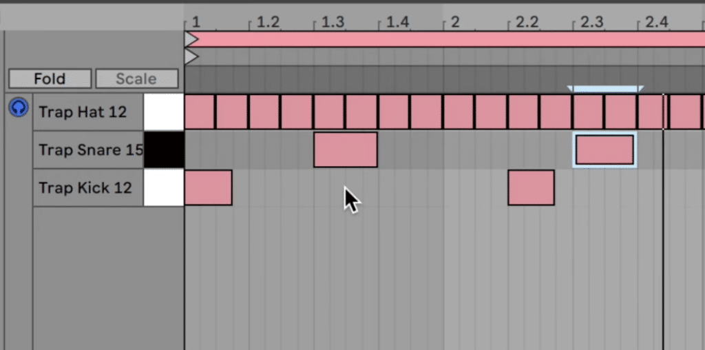 Trap drum pattern with kick, snare, and hi-hat