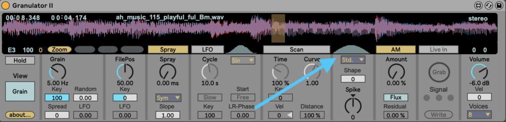Ableton Live Granulator II Shape